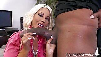 Jules Jordan Bridgette B Big Tit MILF Gets A Bonus For All Her Hard Work. A Big Black mamba Cock