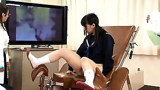 Naughty Japanese schoolgirls getting drilled hard together