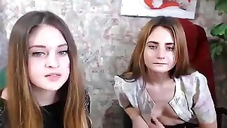 Snowgirls: Two beauty undressed in front of webcam